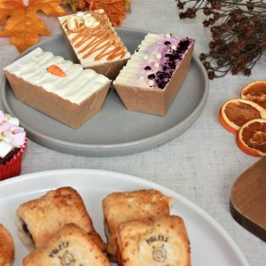 autumn tea for two loaf cakes on plate vegetarian