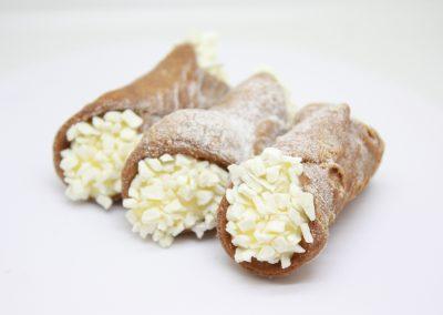 White Chocolate cannoli's on white background