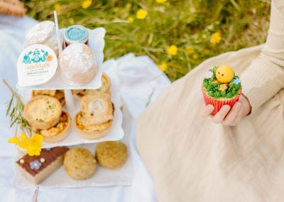 Easter afternoon tea on a picnic