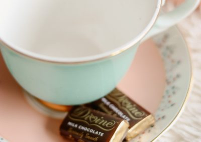 Tea cup with divine chocolate
