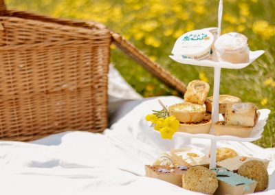 Easter afternoon tea on cake stand