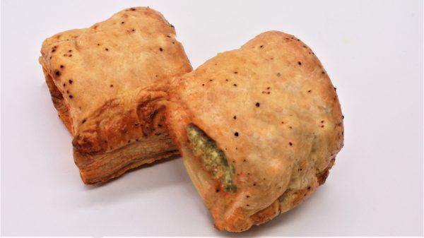 vegetarian sausage rolls mini white background