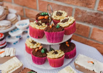 Arrangement of afternoon tea goodies at a party