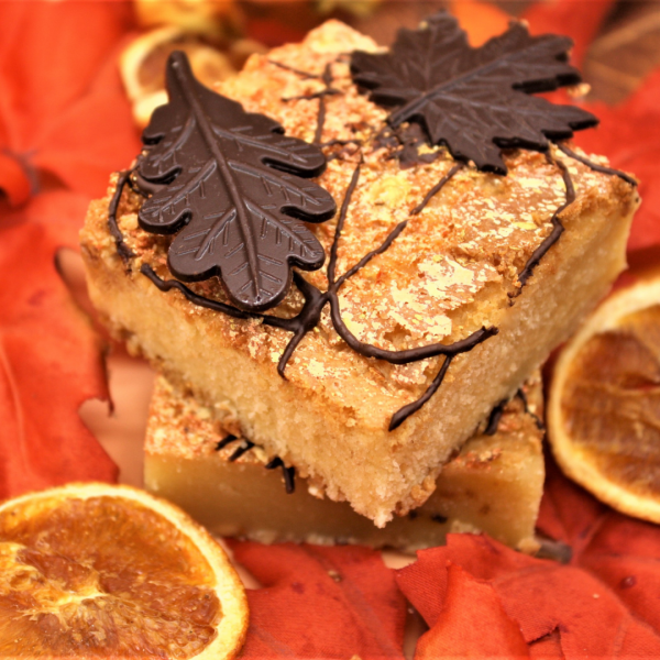 autumn chocolate leaf blondies stacked square crop