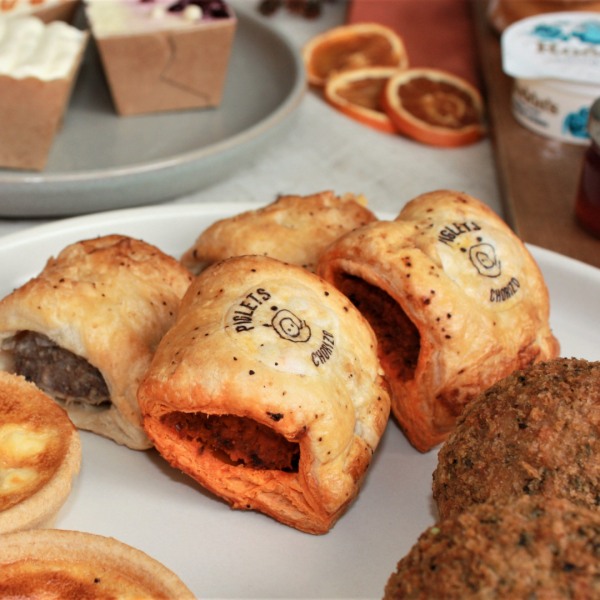 autumn chorizo sausage roll mini and classic on plate cropped square