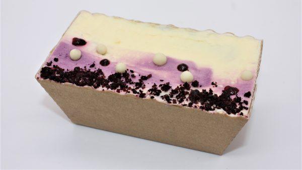 autumn blackcurrant mini loaf cake white background