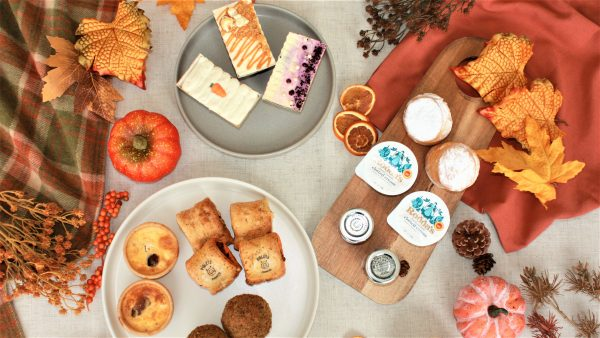 autumn afternoon tea for two flat lay