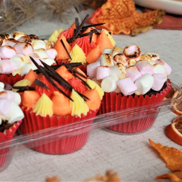 autumn bonfire cupcakes in packet of six with leaves square crop