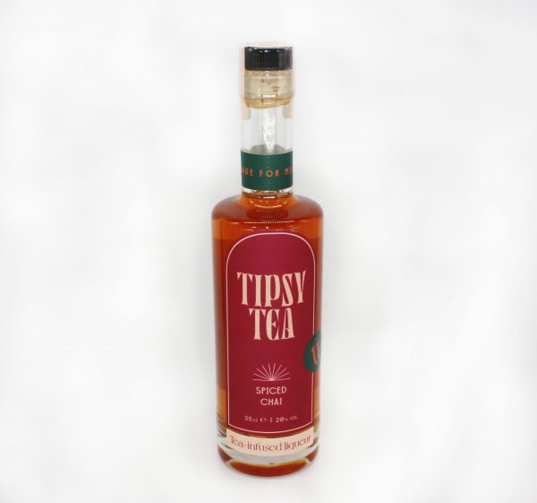 spiced chai tipsey tea glass bottle white background
